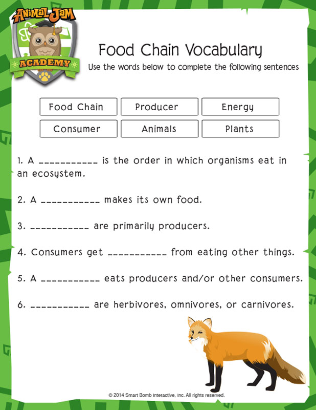 Food Chain Vocabulary Animal Jam Academy