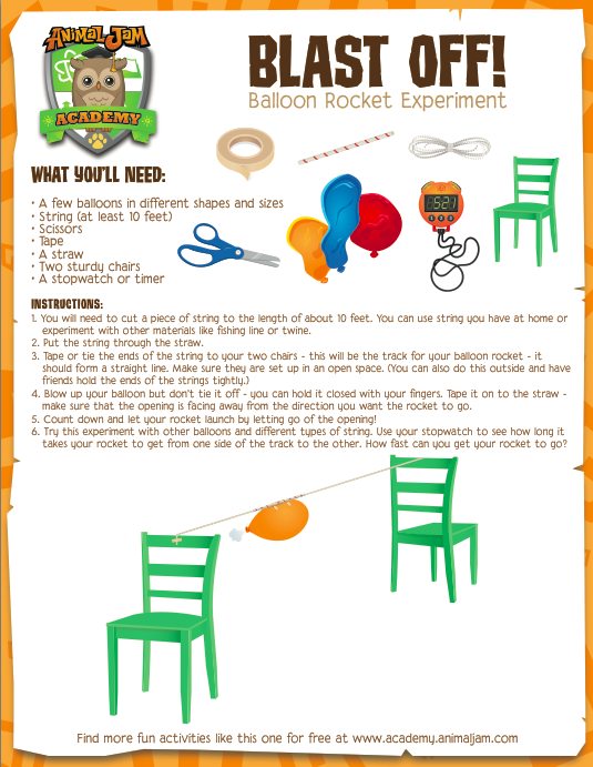 balloon rocket experiment animal jam academy. Black Bedroom Furniture Sets. Home Design Ideas