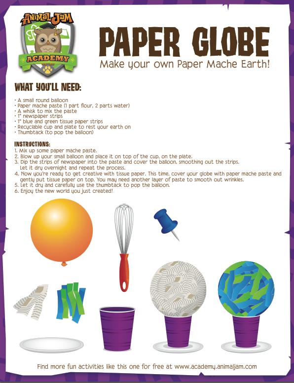 Paper Globe Craft! - Animal Jam Academy
